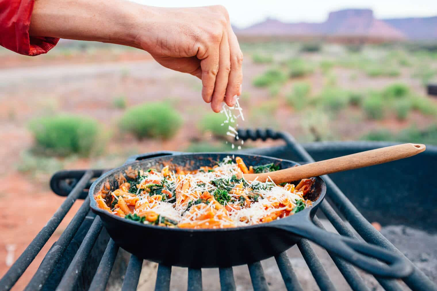 This one pot pasta is an easy camping meal that delivers a big vegetarian protein punch. One pot, 20 minutes, and fewer than 10 ingredients.