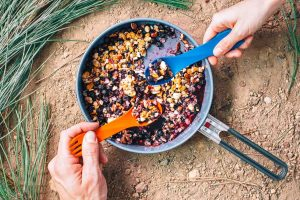 This DIY backpacking dessert will satisfy your sweet tooth on the trail. Get the recipe for this Backpacker's Blueberry Crisp on freshoffthegrid.com