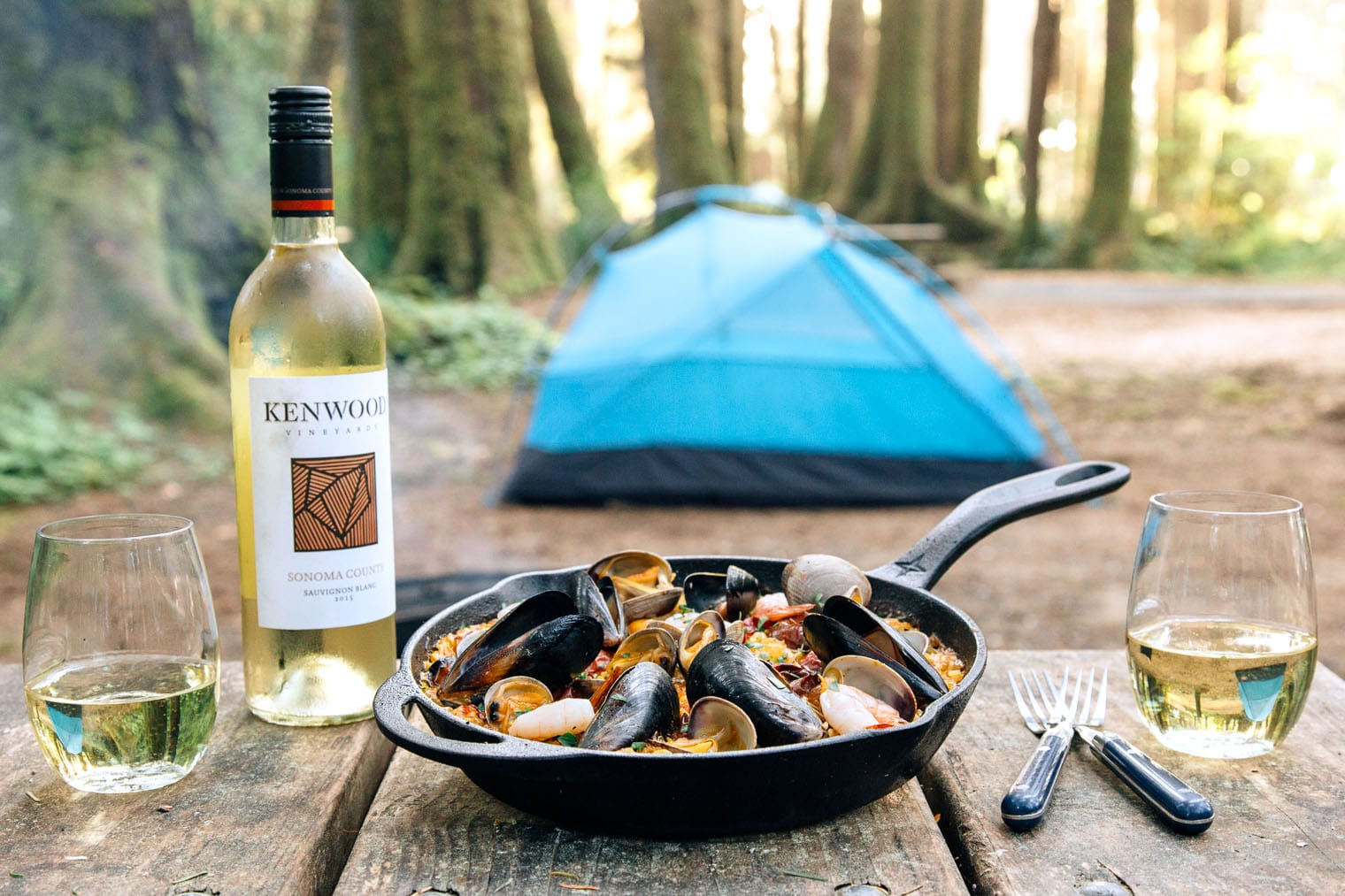 This campfire paella is camping food at it's best!