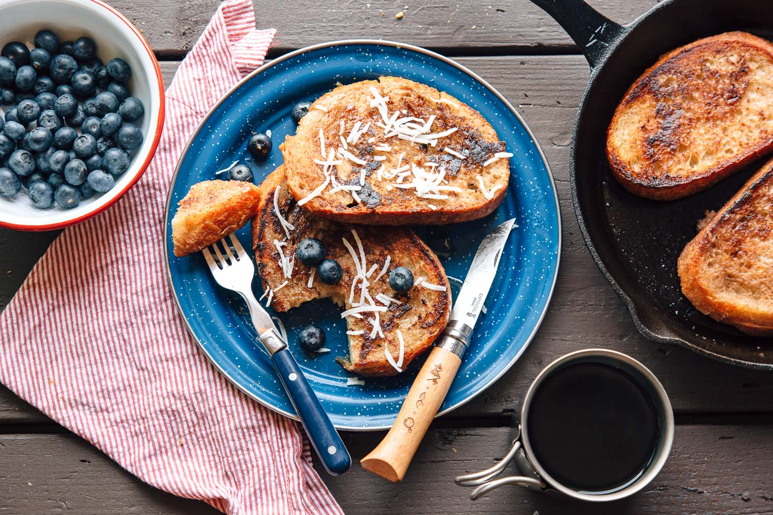 This vegan french toast made with coconut milk and bananas is sure to please everyone on your next camping trip!