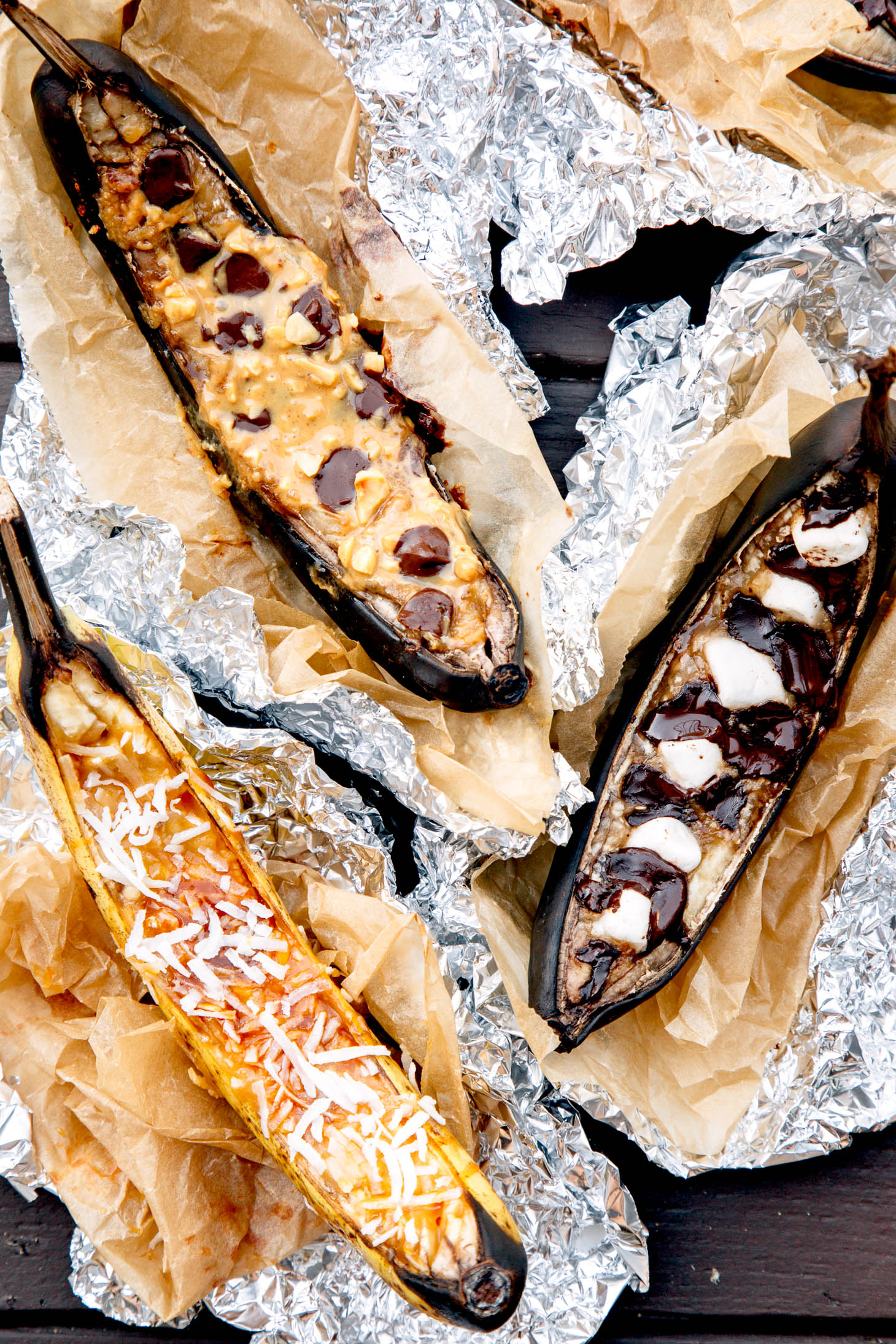 Easy camp cooking: Campfire Banana Boat dessert, cooked right on the grill!
