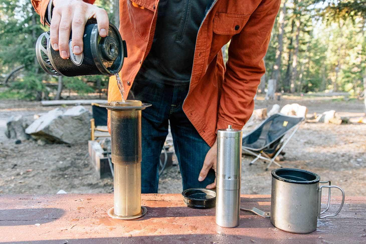 Michael making coffee using an Aeropress
