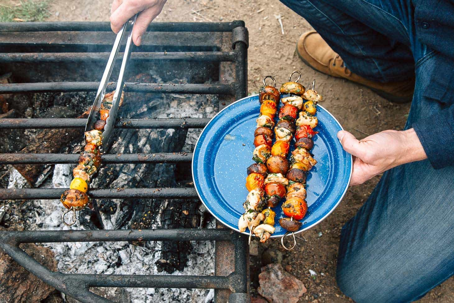 These grilled veggie & chicken skewers are a great make ahead camping meal.