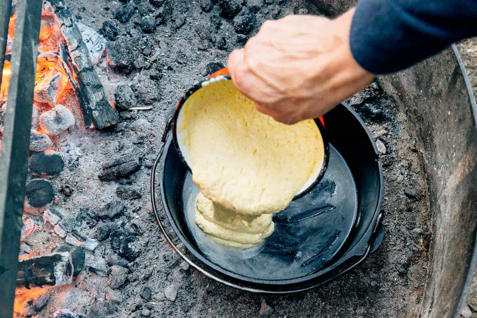 Dutch oven cornbread camping recipe by fresh off the grid for Dutch oven camping recipes for two