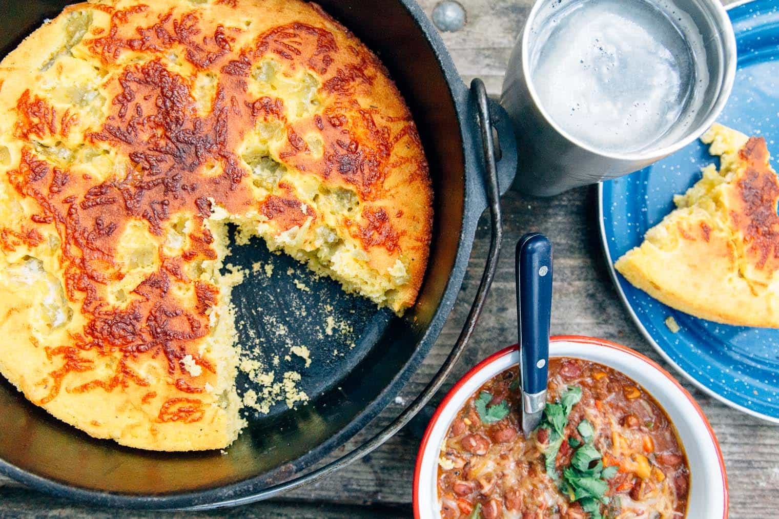 This Dutch Oven Cornbread recipe is perfect for camping trips next to a bowl of chili!